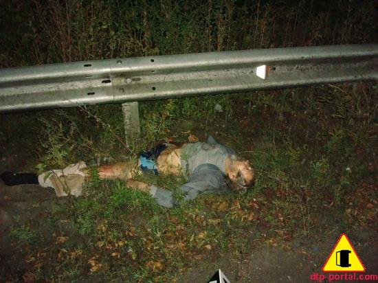 Фото трупа мужчины после ДТП, труп без ноги