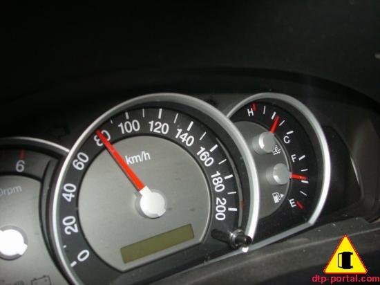 Фото заклинившего в ДТП спидометра автомобиля Киа
