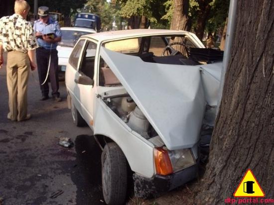 Водитель, спасая жизнь пешехода, врезался в дерево