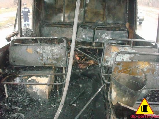 сгоревший салон автобуса